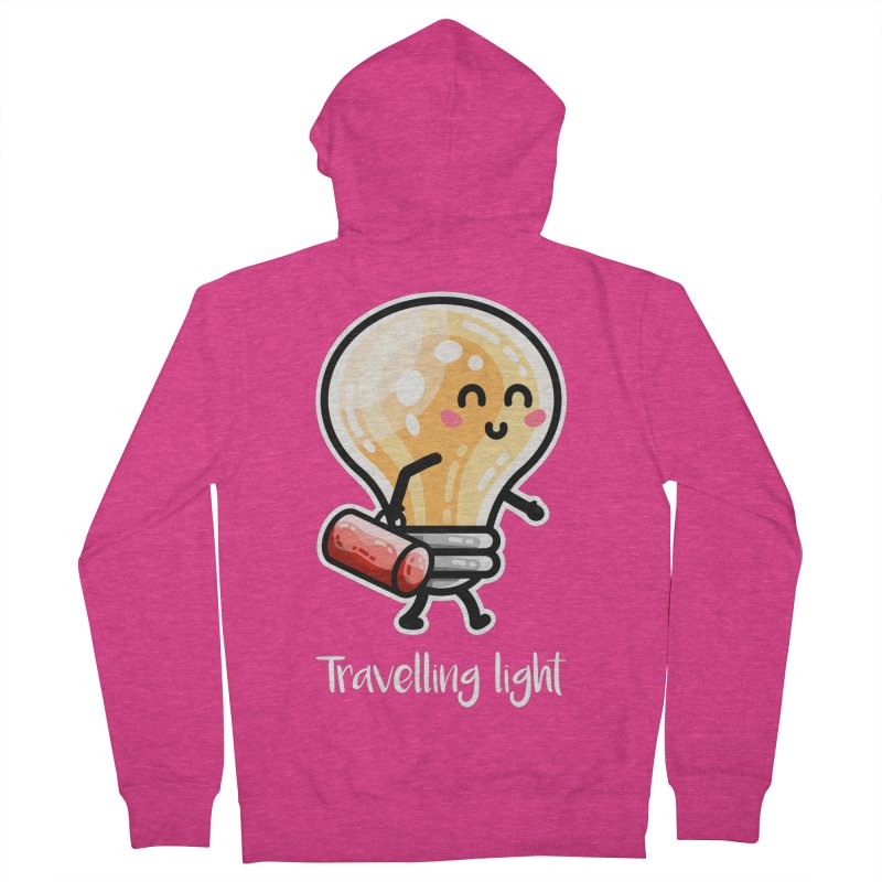 Kawaii Cute Travelling Light Pun Women's French Terry Zip-Up Hoody by Flaming Imp's Artist Shop