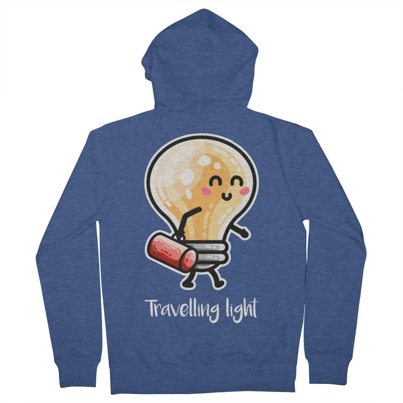 Kawaii Cute Travelling Light Pun Men's French Terry Zip-Up Hoody by Flaming Imp's Artist Shop