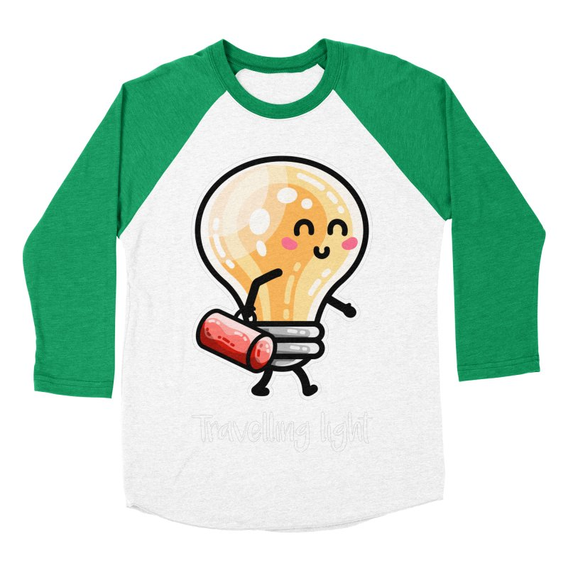 Kawaii Cute Travelling Light Pun Women's Baseball Triblend Longsleeve T-Shirt by Flaming Imp's Artist Shop