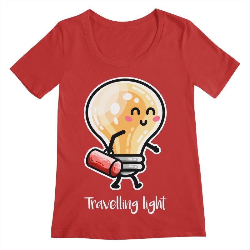 Kawaii Cute Travelling Light Pun Women's Regular Scoop Neck by Flaming Imp's Artist Shop