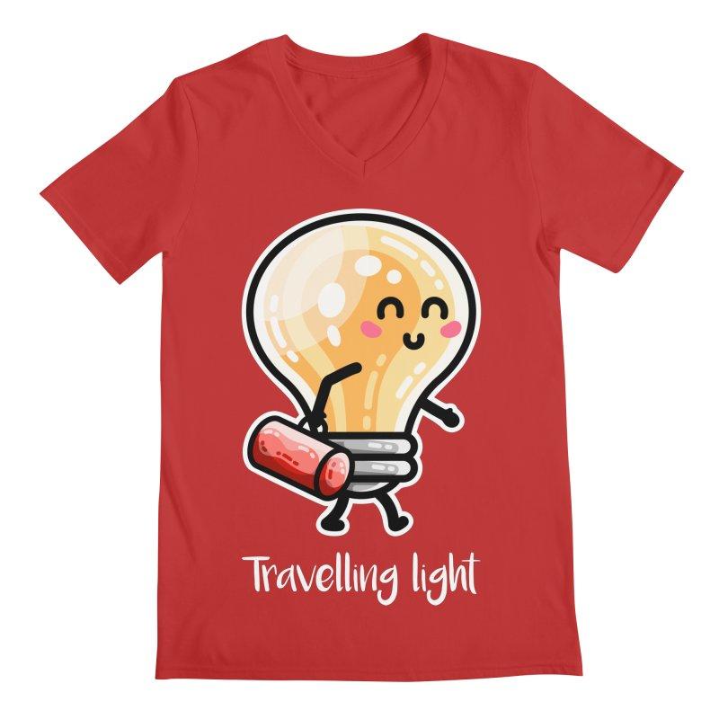 Kawaii Cute Travelling Light Pun Men's V-Neck by Flaming Imp's Artist Shop