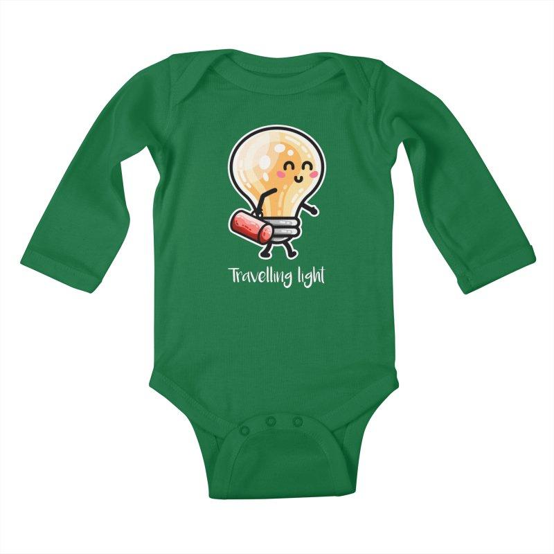 Kawaii Cute Travelling Light Pun Kids Baby Longsleeve Bodysuit by Flaming Imp's Artist Shop