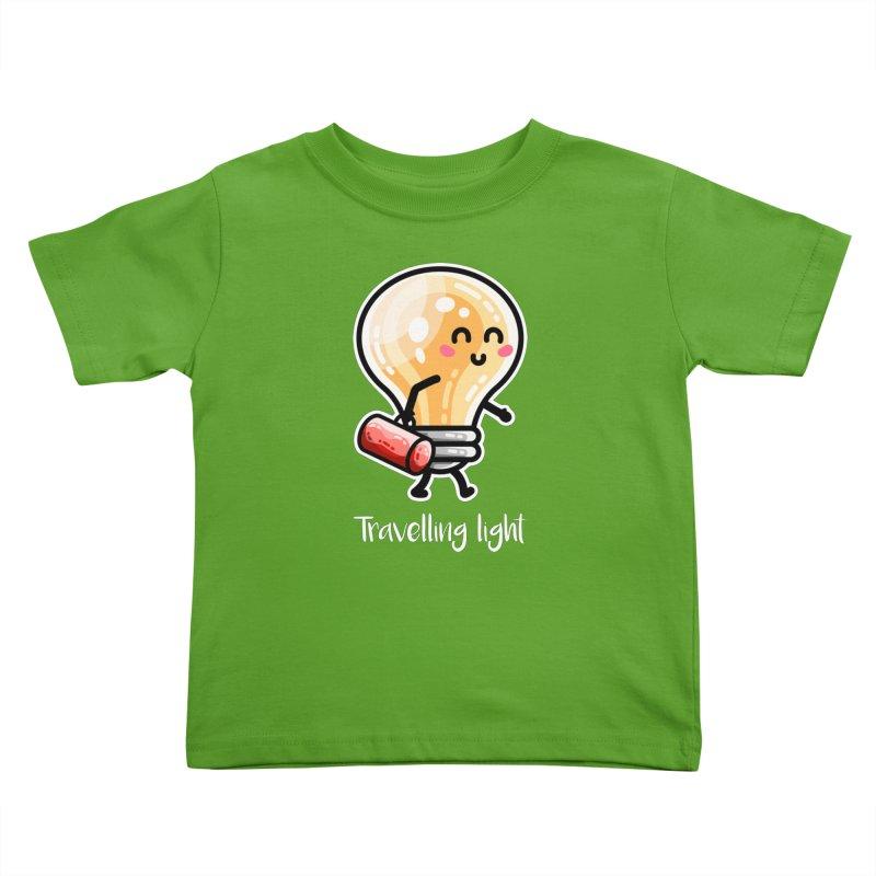Kawaii Cute Travelling Light Pun Kids Toddler T-Shirt by Flaming Imp's Artist Shop