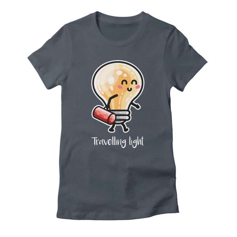 Kawaii Cute Travelling Light Pun Fitted T-Shirt by Flaming Imp's Artist Shop