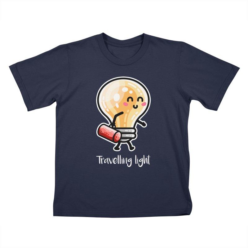 Kawaii Cute Travelling Light Pun Kids T-Shirt by Flaming Imp's Artist Shop