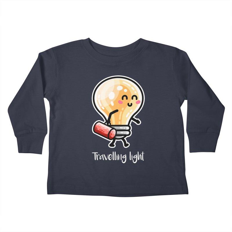 Kawaii Cute Travelling Light Pun Kids Toddler Longsleeve T-Shirt by Flaming Imp's Artist Shop