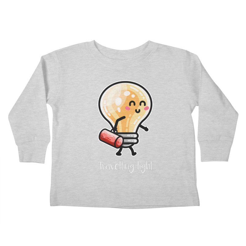 Kawaii Cute Travelling Light Pun Kids Toddler Longsleeve T-Shirt by Flaming Imp's Artist Shop