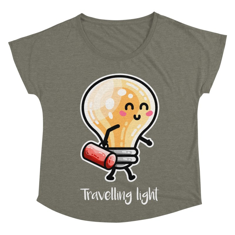 Kawaii Cute Travelling Light Pun Women's Scoop Neck by Flaming Imp's Artist Shop