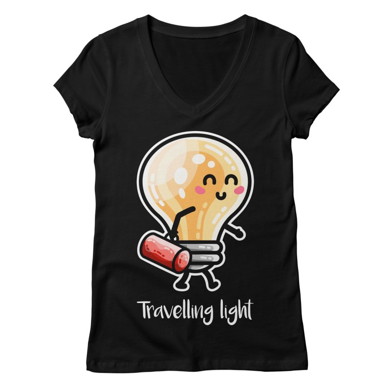 Kawaii Cute Travelling Light Pun Women's V-Neck by Flaming Imp's Artist Shop