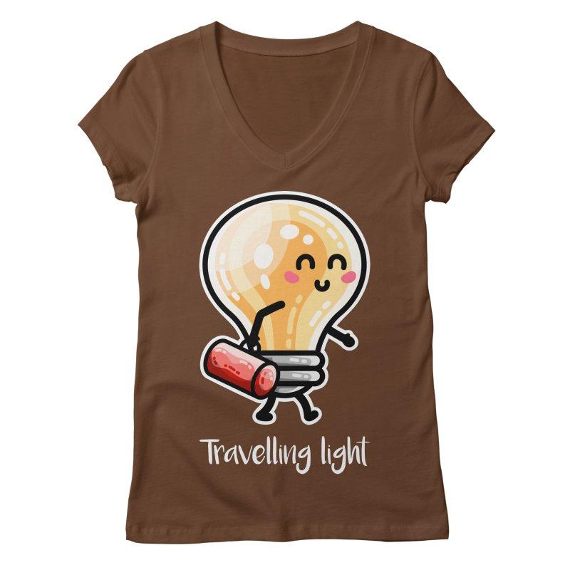Kawaii Cute Travelling Light Pun Women's Regular V-Neck by Flaming Imp's Artist Shop