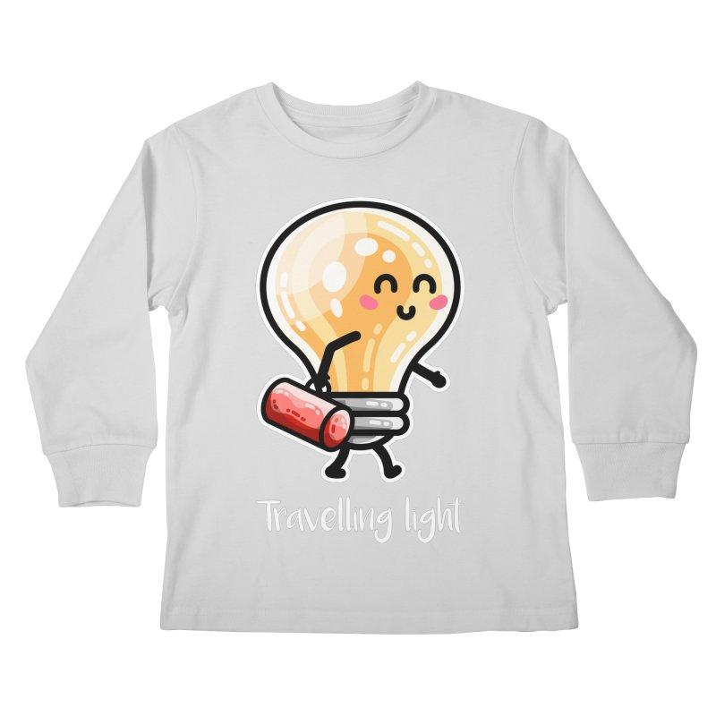 Kawaii Cute Travelling Light Pun Kids Longsleeve T-Shirt by Flaming Imp's Artist Shop