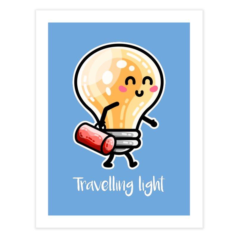 Kawaii Cute Travelling Light Pun Home Fine Art Print by Flaming Imp's Artist Shop
