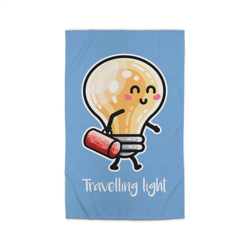 Kawaii Cute Travelling Light Pun Home Rug by Flaming Imp's Artist Shop