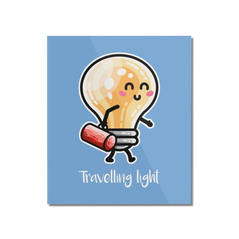 Kawaii Cute Travelling Light Pun Home Mounted Acrylic Print by Flaming Imp's Artist Shop
