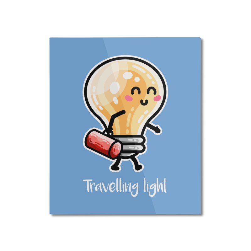 Kawaii Cute Travelling Light Pun Home Mounted Aluminum Print by Flaming Imp's Artist Shop