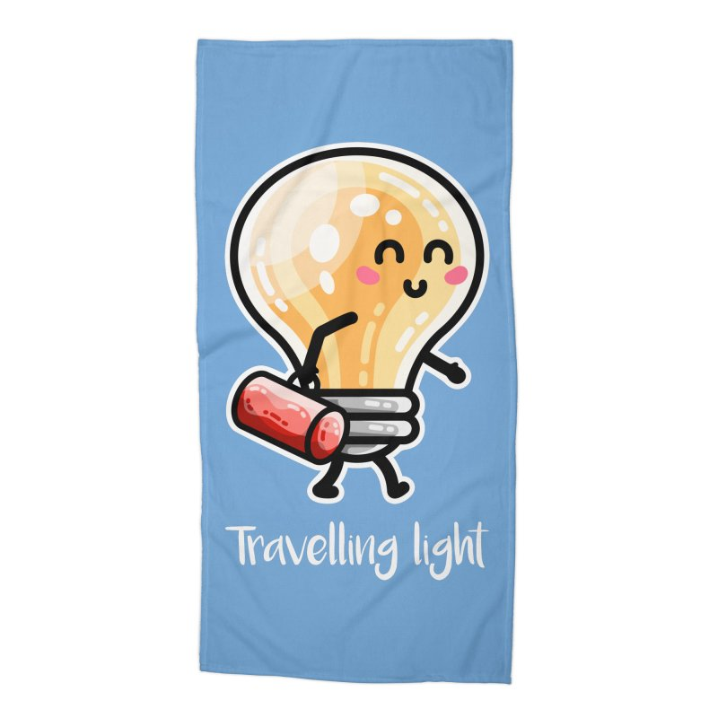 Kawaii Cute Travelling Light Pun Accessories Beach Towel by Flaming Imp's Artist Shop