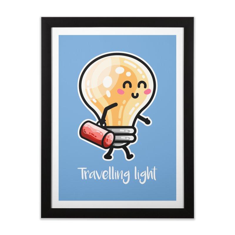 Kawaii Cute Travelling Light Pun Home Framed Fine Art Print by Flaming Imp's Artist Shop