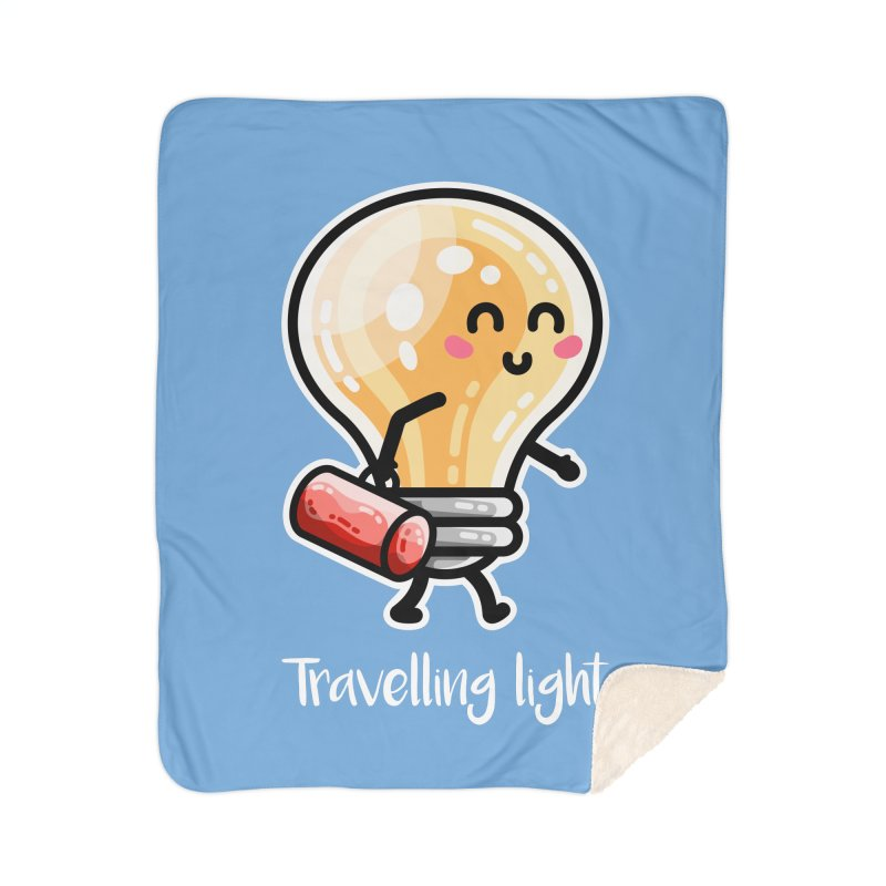 Kawaii Cute Travelling Light Pun Home Sherpa Blanket Blanket by Flaming Imp's Artist Shop