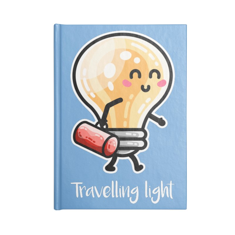 Kawaii Cute Travelling Light Pun Accessories Blank Journal Notebook by Flaming Imp's Artist Shop
