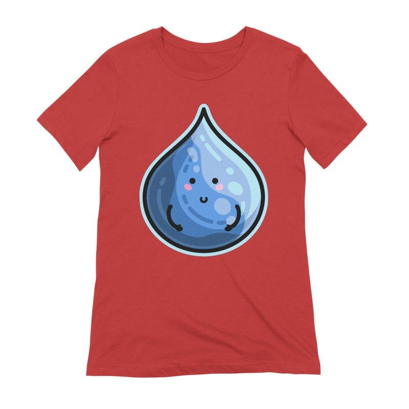 Kawaii Cute Water Droplet / Tear / Rain Women's Extra Soft T-Shirt by Flaming Imp's Artist Shop
