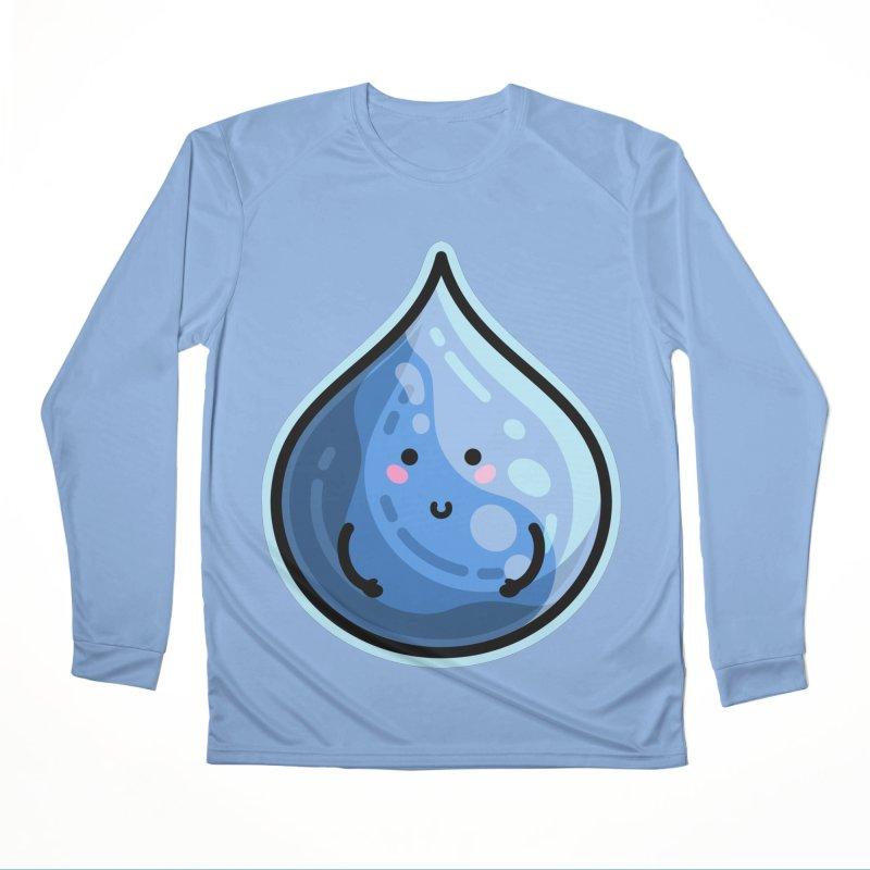 Kawaii Cute Water Droplet / Tear / Rain Men's Performance Longsleeve T-Shirt by Flaming Imp's Artist Shop