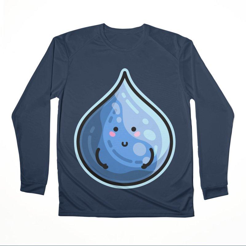 Kawaii Cute Water Droplet / Tear / Rain Women's Performance Unisex Longsleeve T-Shirt by Flaming Imp's Artist Shop