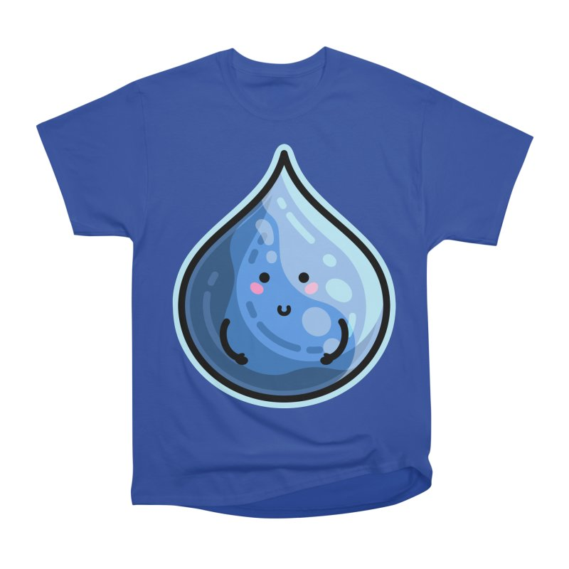 Kawaii Cute Water Droplet / Tear / Rain Men's Heavyweight T-Shirt by Flaming Imp's Artist Shop