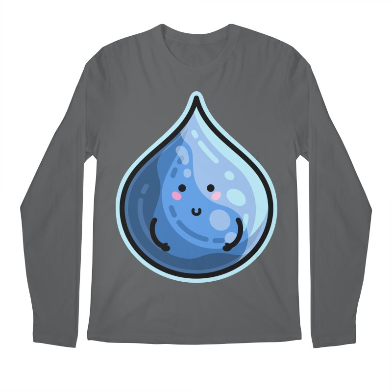 Kawaii Cute Water Droplet / Tear / Rain Men's Longsleeve T-Shirt by Flaming Imp's Artist Shop