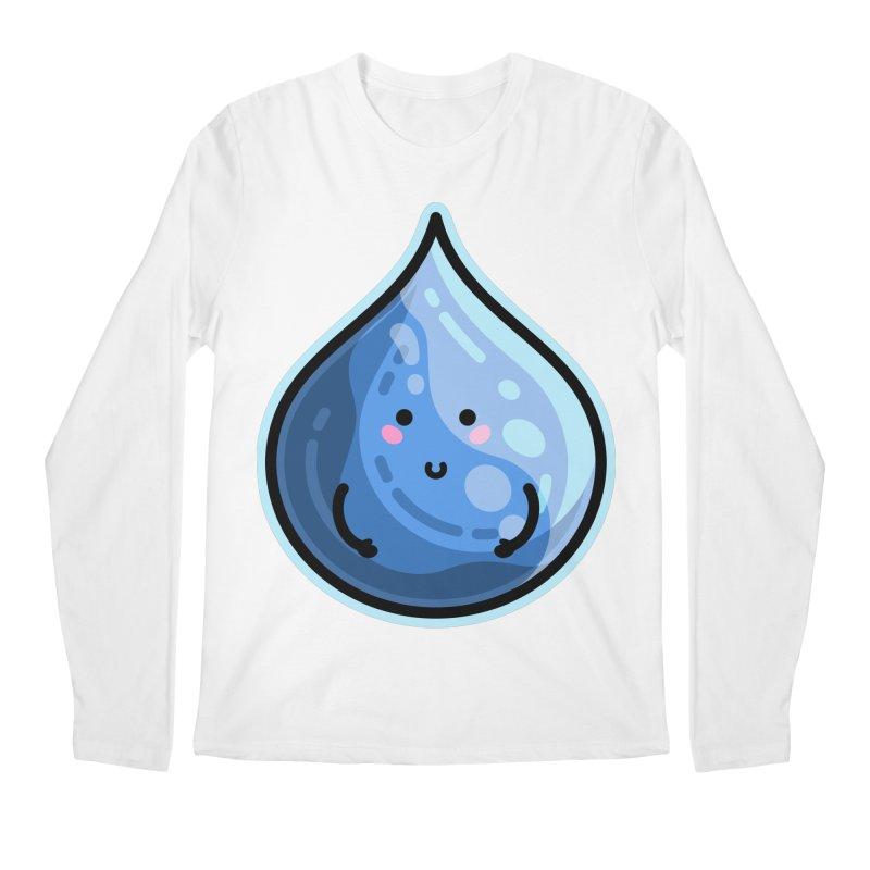 Kawaii Cute Water Droplet / Tear / Rain Men's Regular Longsleeve T-Shirt by Flaming Imp's Artist Shop