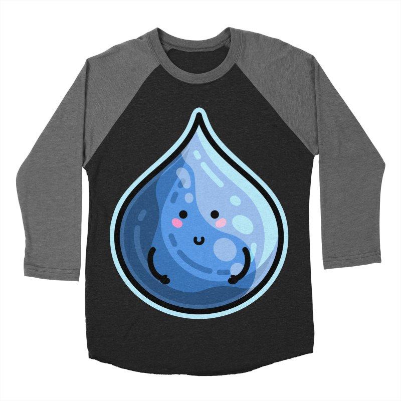 Kawaii Cute Water Droplet / Tear / Rain Men's Baseball Triblend Longsleeve T-Shirt by Flaming Imp's Artist Shop