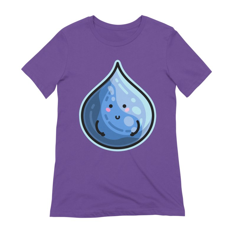 Kawaii Cute Water Droplet / Tear / Rain Fitted T-Shirt by Flaming Imp's Artist Shop