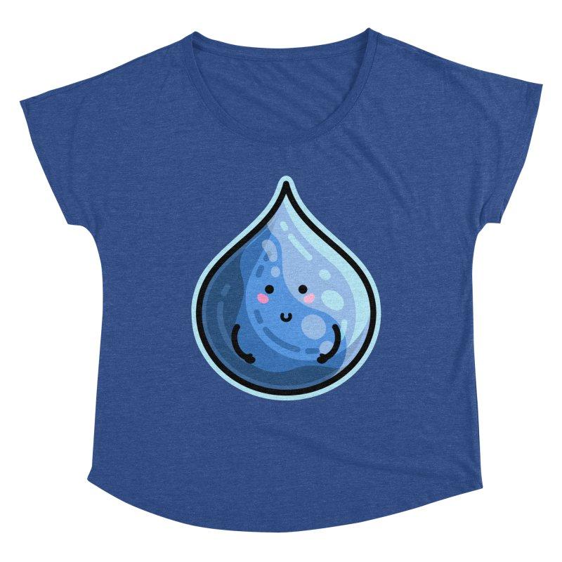 Kawaii Cute Water Droplet / Tear / Rain Women's Dolman Scoop Neck by Flaming Imp's Artist Shop