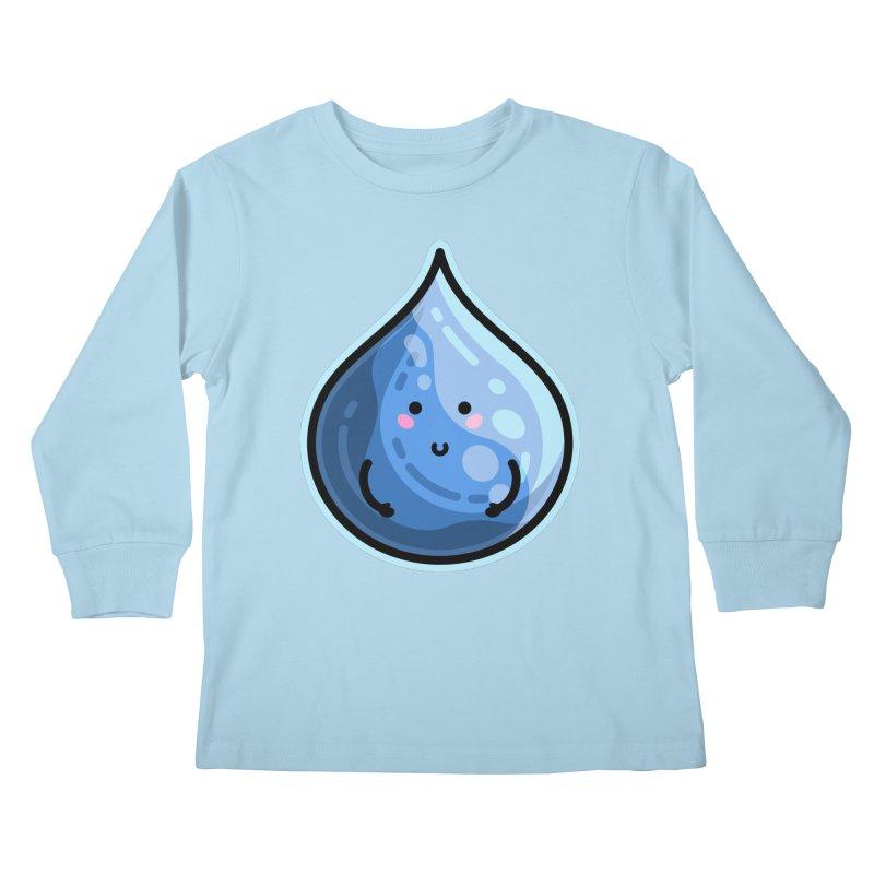 Kawaii Cute Water Droplet / Tear / Rain Kids Longsleeve T-Shirt by Flaming Imp's Artist Shop