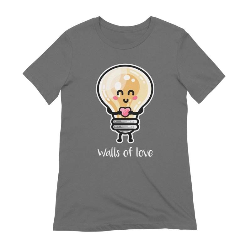 Cute Watts Of Love Pun Women's Extra Soft T-Shirt by Flaming Imp's Artist Shop