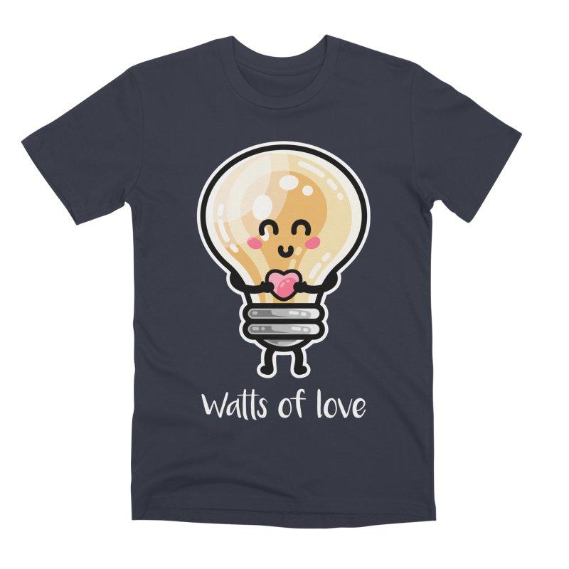 Cute Watts Of Love Pun Men's Premium T-Shirt by Flaming Imp's Artist Shop