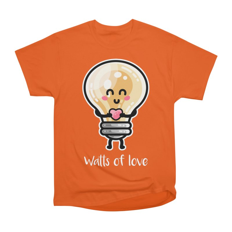Cute Watts Of Love Pun Men's Heavyweight T-Shirt by Flaming Imp's Artist Shop