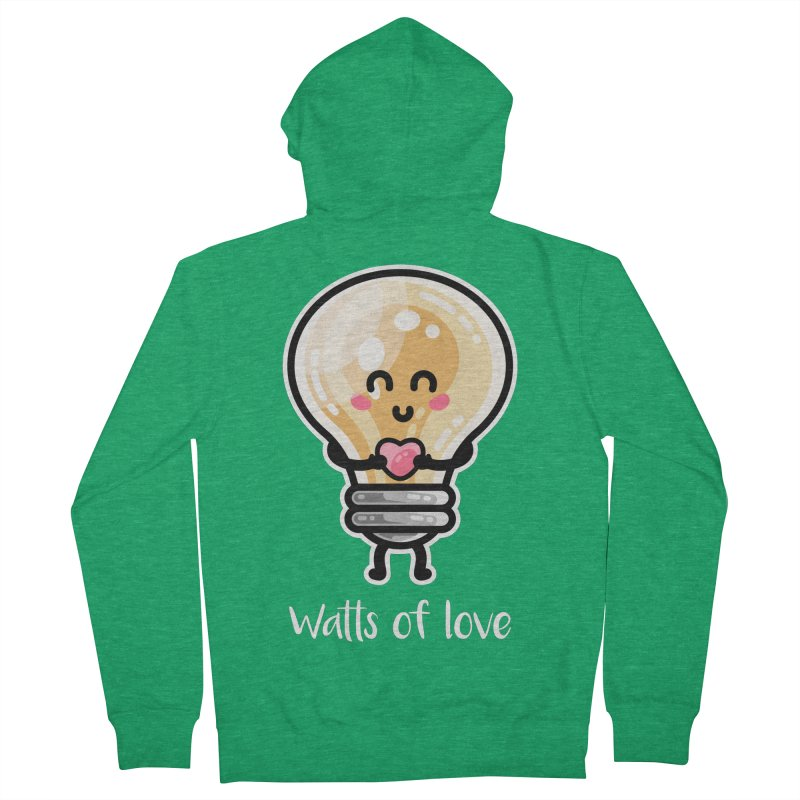 Cute Watts Of Love Pun Women's French Terry Zip-Up Hoody by Flaming Imp's Artist Shop