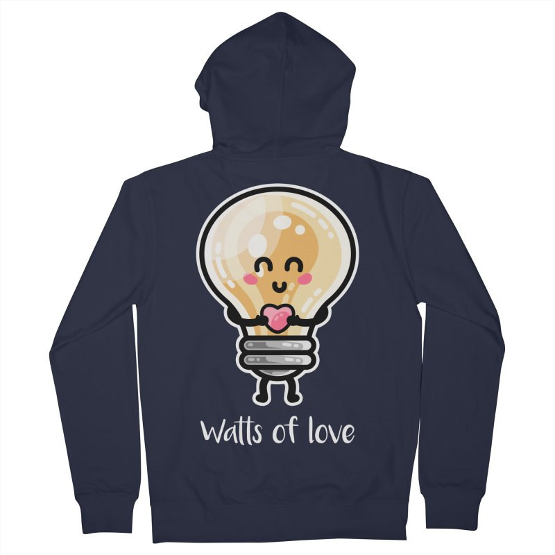 Cute Watts Of Love Pun Fitted Zip-Up Hoody by Flaming Imp's Artist Shop
