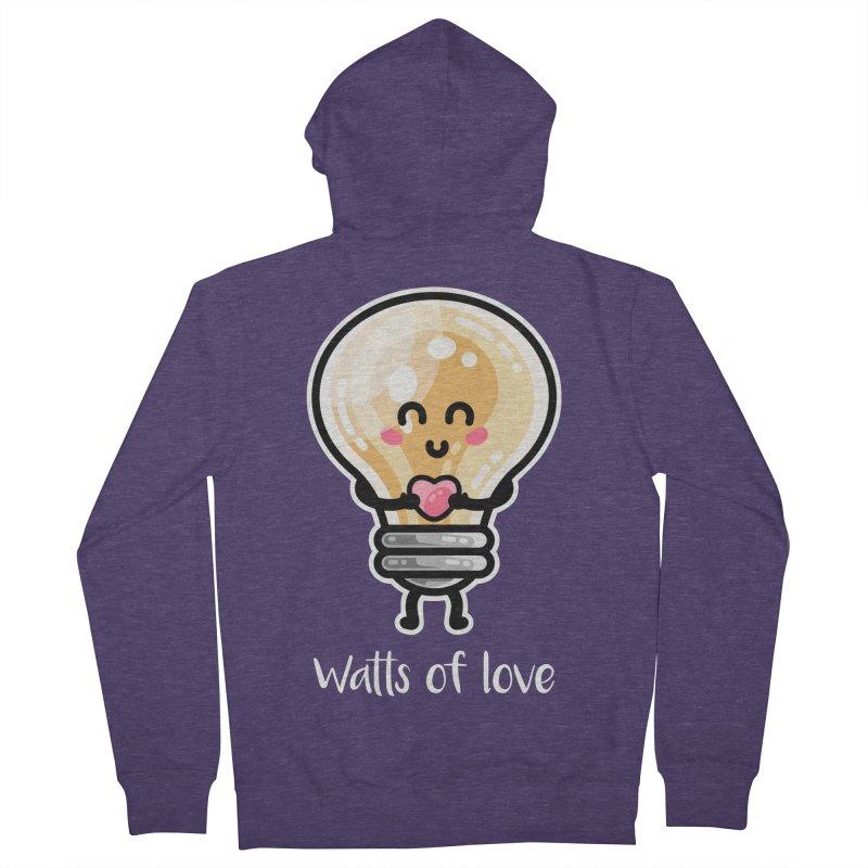 Cute Watts Of Love Pun Men's Zip-Up Hoody by Flaming Imp's Artist Shop