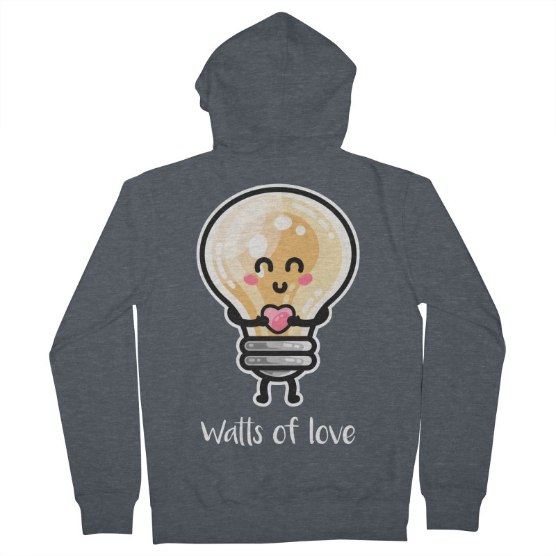 Cute Watts Of Love Pun Men's French Terry Zip-Up Hoody by Flaming Imp's Artist Shop