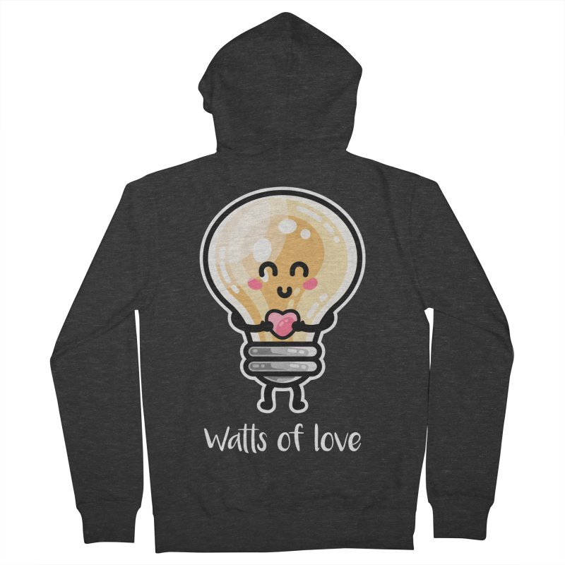 Cute Watts Of Love Pun Men's Zip-Up Hoody by Flaming Imp's Artist Shop