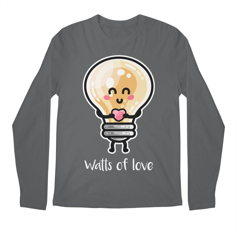 Cute Watts Of Love Pun Men's Longsleeve T-Shirt by Flaming Imp's Artist Shop