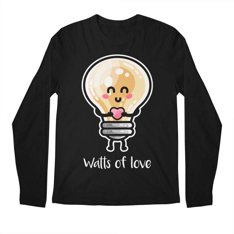 Cute Watts Of Love Pun Men's Longsleeve T-Shirt by Flaming Imp's Artist Shop