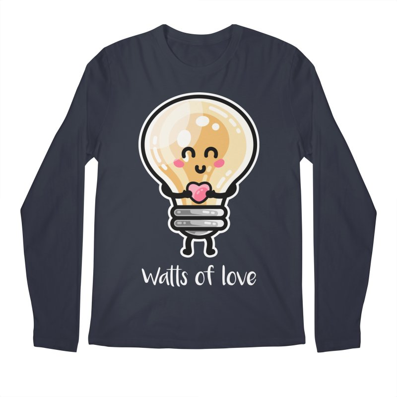 Cute Watts Of Love Pun Men's Regular Longsleeve T-Shirt by Flaming Imp's Artist Shop