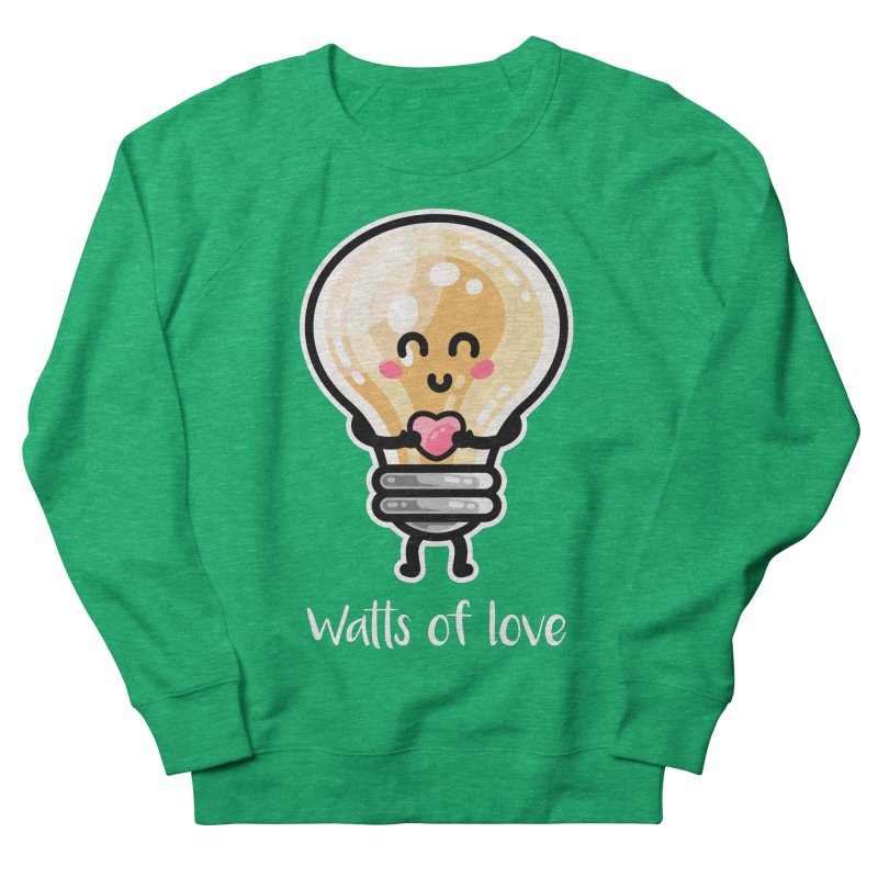 Cute Watts Of Love Pun Fitted Sweatshirt by Flaming Imp's Artist Shop