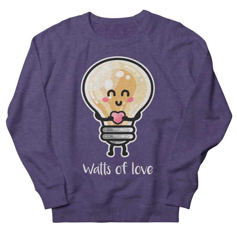Cute Watts Of Love Pun Men's French Terry Sweatshirt by Flaming Imp's Artist Shop