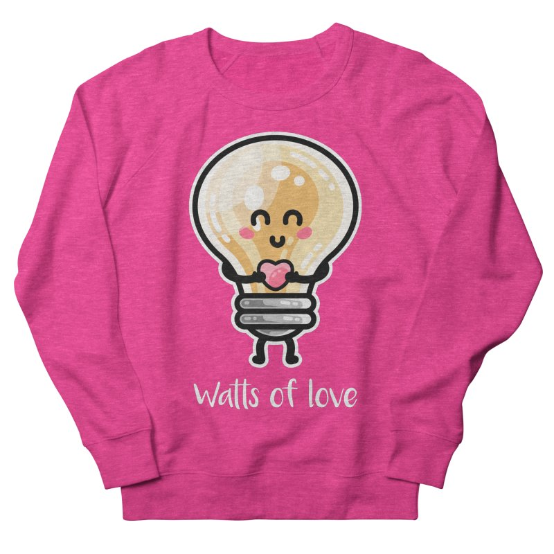 Cute Watts Of Love Pun Men's French Terry Sweatshirt by Flaming Imp's Artist Shop
