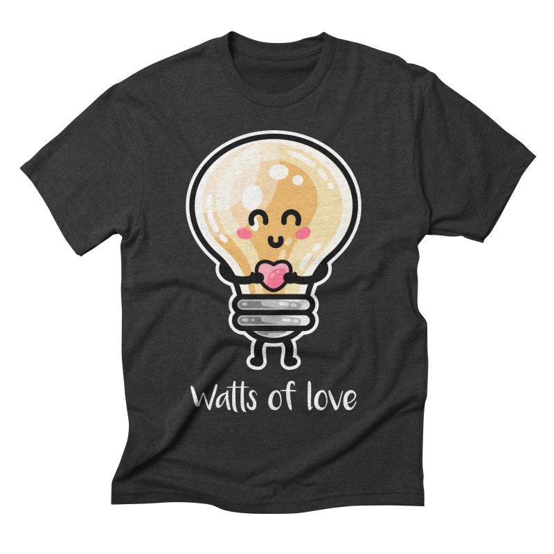 Cute Watts Of Love Pun Men's Triblend T-Shirt by Flaming Imp's Artist Shop