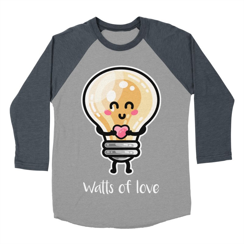Cute Watts Of Love Pun Women's Baseball Triblend Longsleeve T-Shirt by Flaming Imp's Artist Shop