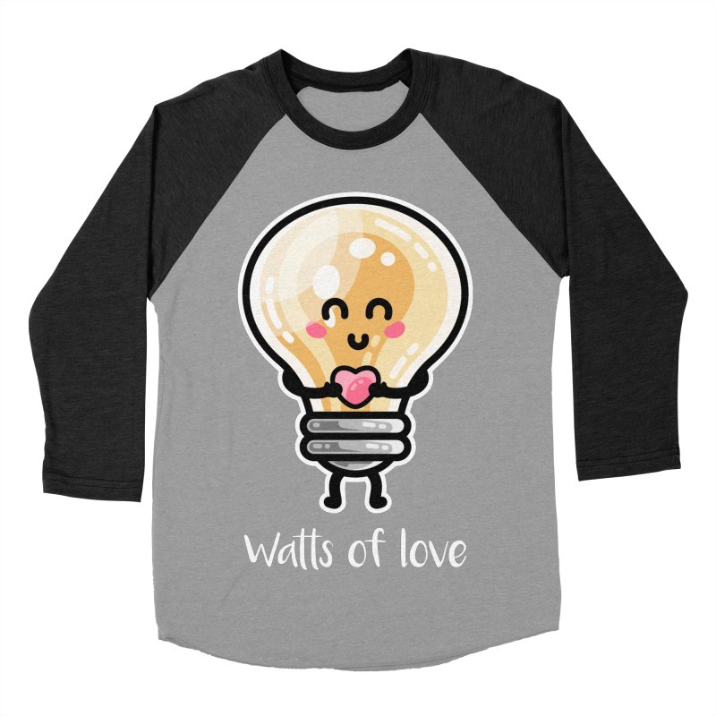 Cute Watts Of Love Pun Men's Baseball Triblend Longsleeve T-Shirt by Flaming Imp's Artist Shop